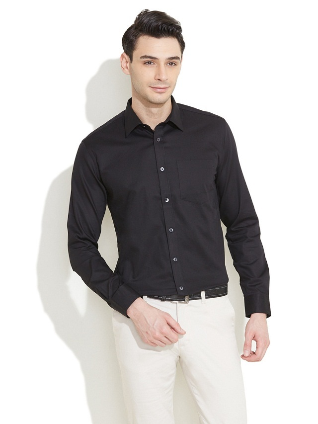 black shirt with white formal trouser, Black shirt goes nicely with white pant,the right color combination