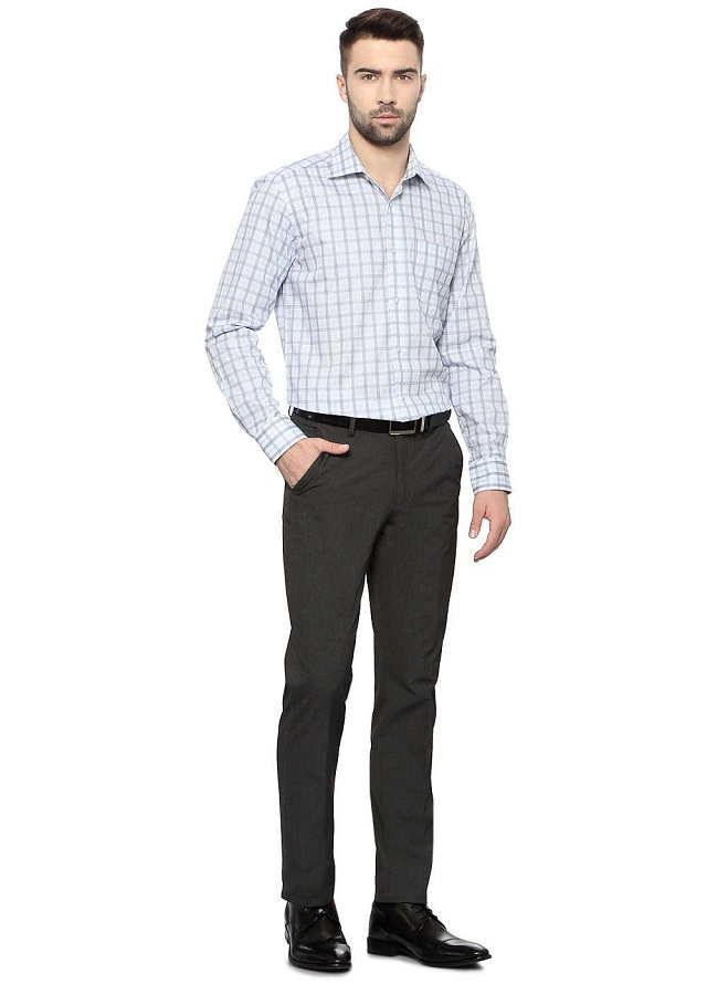 checked formal shirt with matching pant, awesome combination of gray checks shirt with matching pant