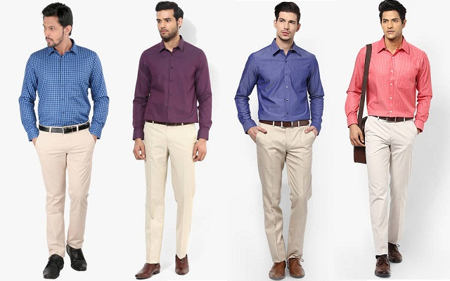 formal dress combination, cream pant with contrast color shirts