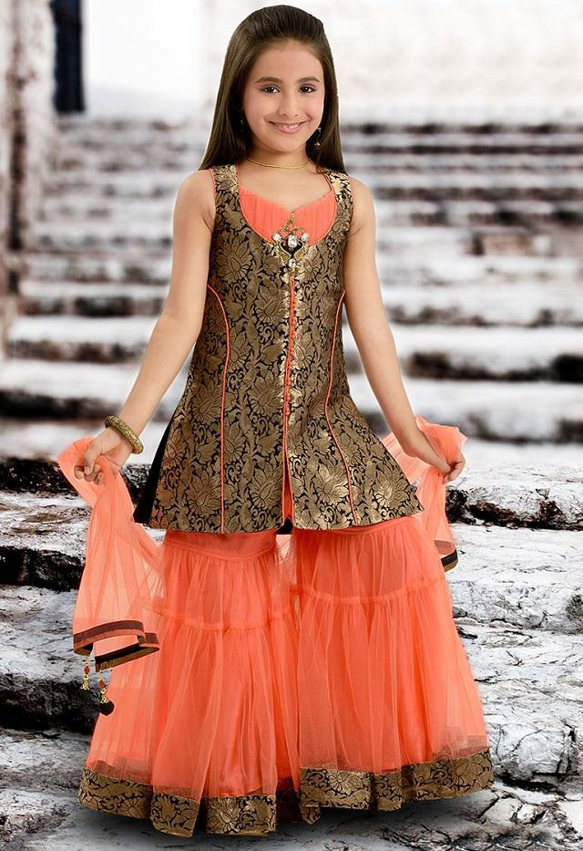 girls-peach-sharara, sharara for girls
