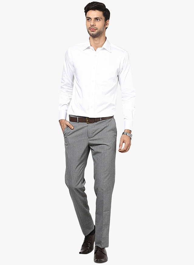 gray formal pant with white shirt, really awesome color combo are evergreen choice for men, formal shirt pant colour combination