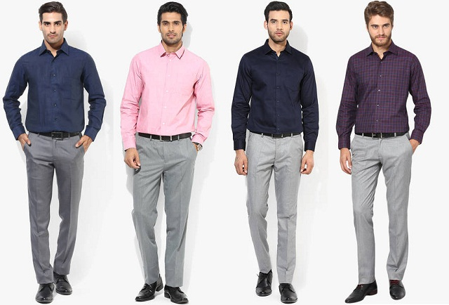 gray pant with formal shirt, what shirt goes well with gray pant, formal dress combination