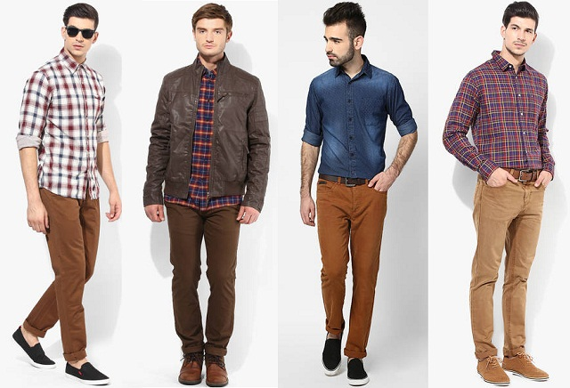 khakhi chinos, increase your stunning personality try to khakhi chinos with contrast color shirt