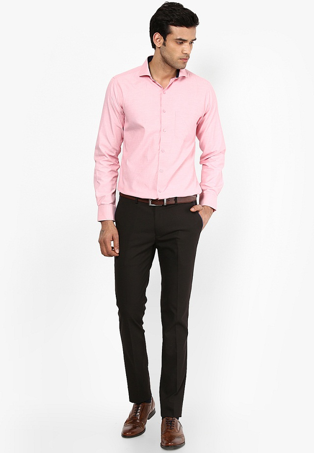 light pink shirt with chocolate color pant, light pink shirt goes with chocolate colour pant to make some killer combinations