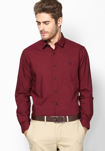 maroon formal shirt with beige pant, Cream or khakhi it also pairs well with dark shades like Maroon