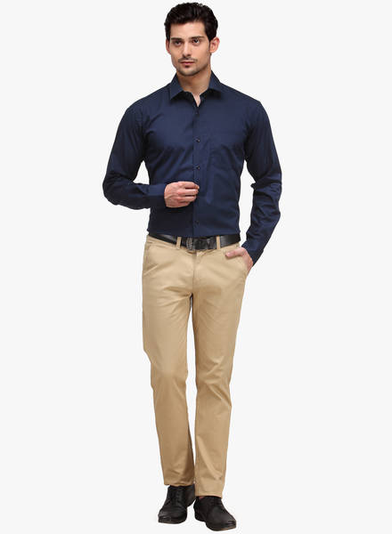 navy blue formal shirt with beige pant, Blue shirt match with beige pant really great color combo, best formal combination