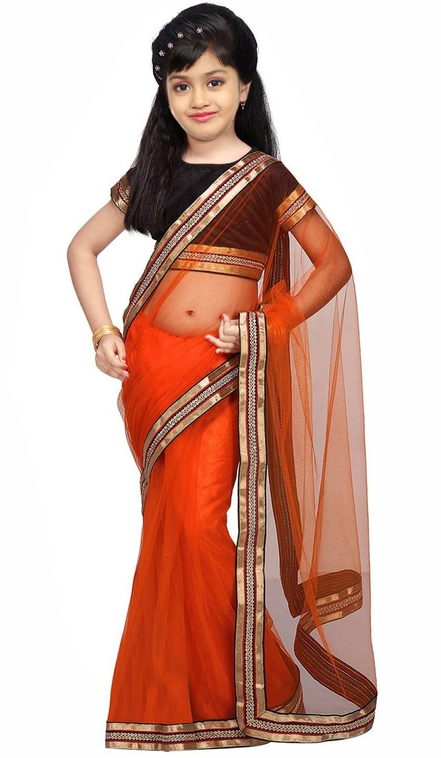 orange-saree, orange bordered kids saree
