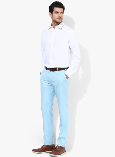 pastle blue pant with white shirt, Some new add in formal like pastels color trousers