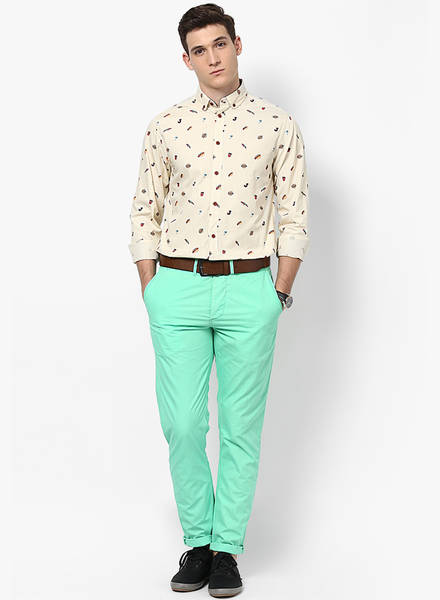 pastle green pant with printed shirt, pant shirt combination for men
