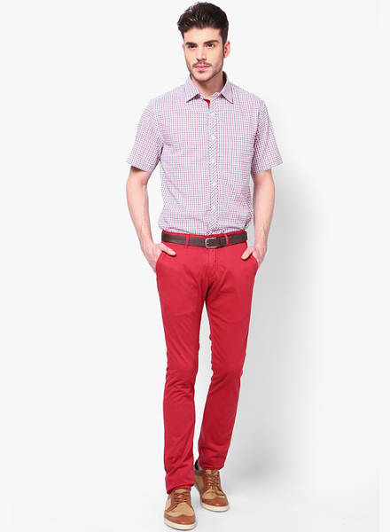 pastle red pant with matching shirt, formal dress colour combination for men