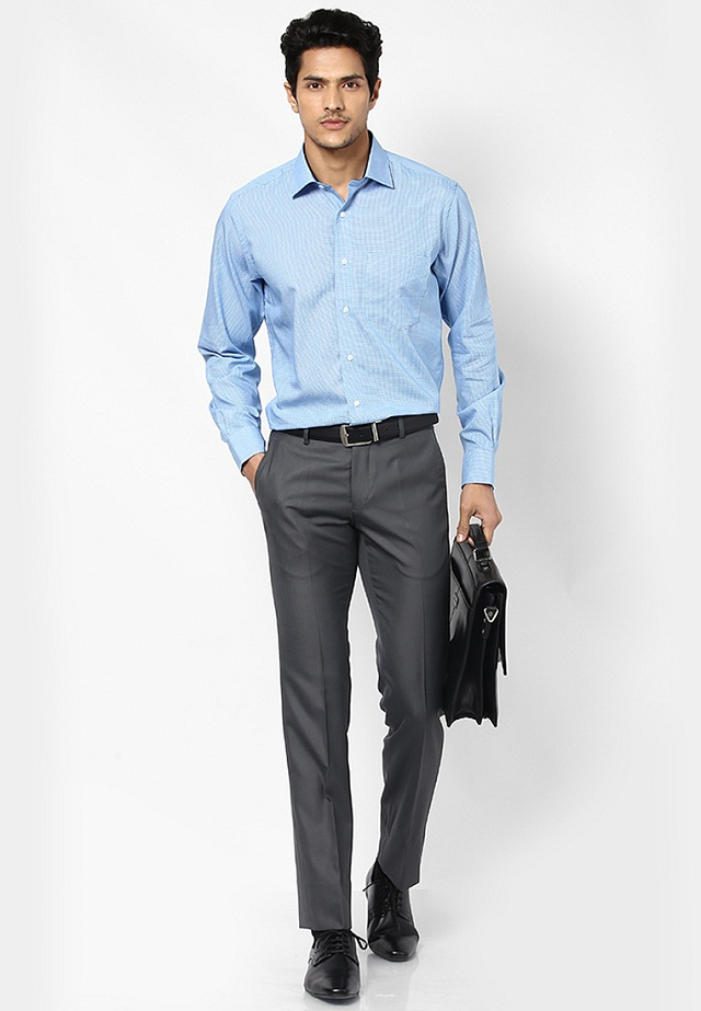 sky blue shirt with gray pant, Sky blue shirt with matching gray pant, formal shirt pant color combinations
