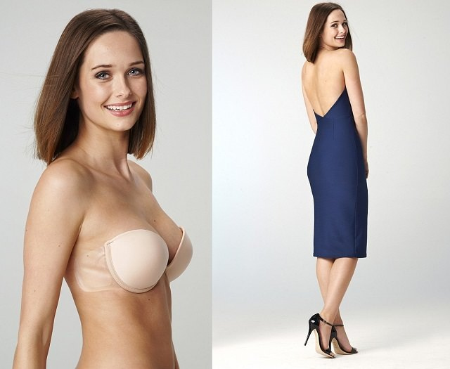 bra for dress with low back, Stick on Bra for low cut or deep cut backless dresses, things to hide bra straps