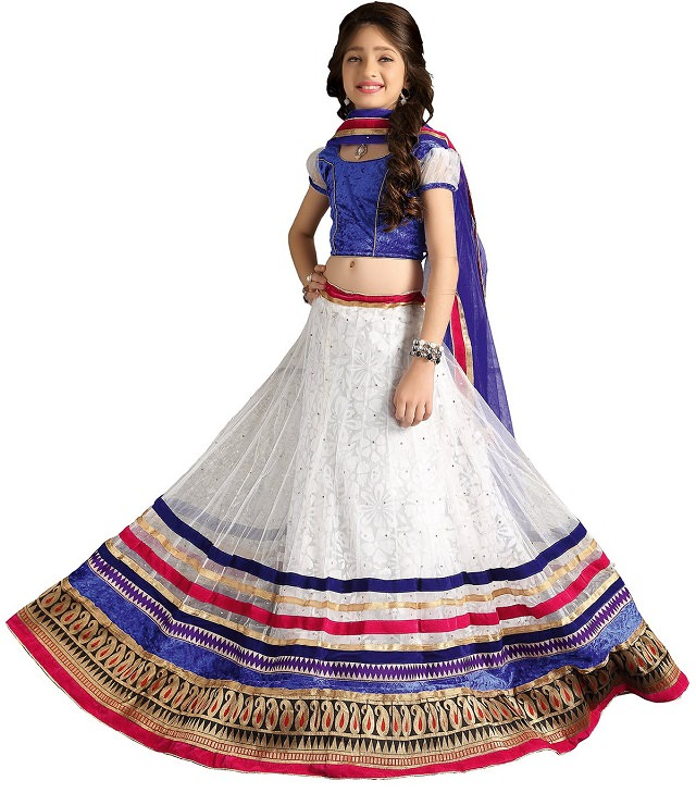 white-lehenga-choli, lehenga choli for girls
