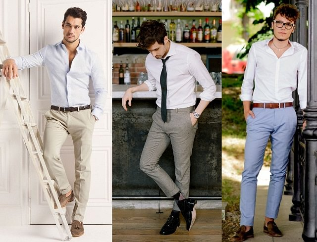 white shirt with beige-gray-blue pant, Looking good with some color combos like white-beige, white-gray, white-blue, best formal combination for man
