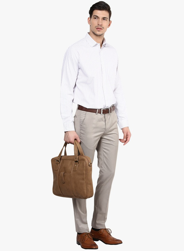 white striped shirt with beige pant, Evergreen formal shirt or pant colour combination for Men, best formal dress combination for men
