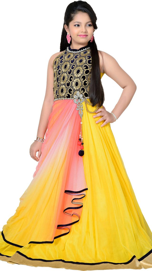 yellow-gown, party wear for kids