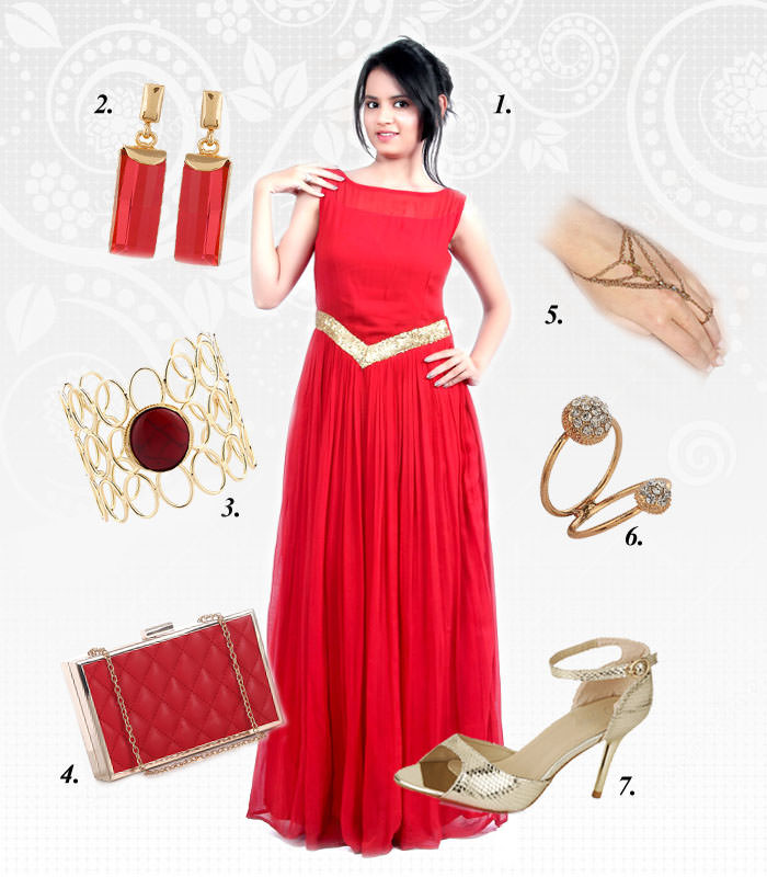 classy red gown