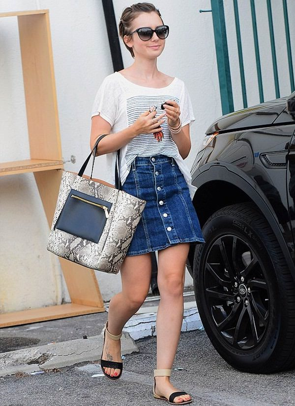 how to wear boyfriend tee with a denim skirt, oversized t shirt outfits