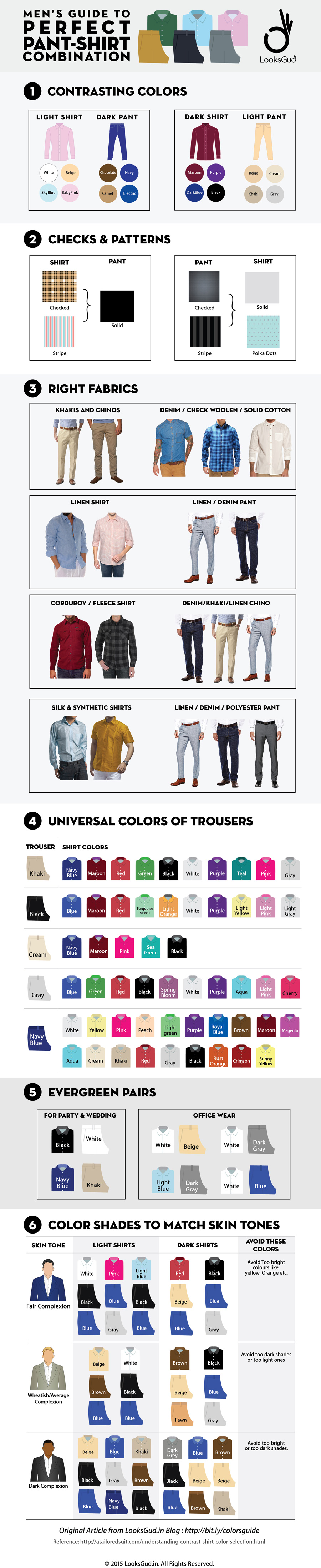Mens guide to perfect pant shirt combination looksgud mens shirt trouser combination guide infographics nvjuhfo Images