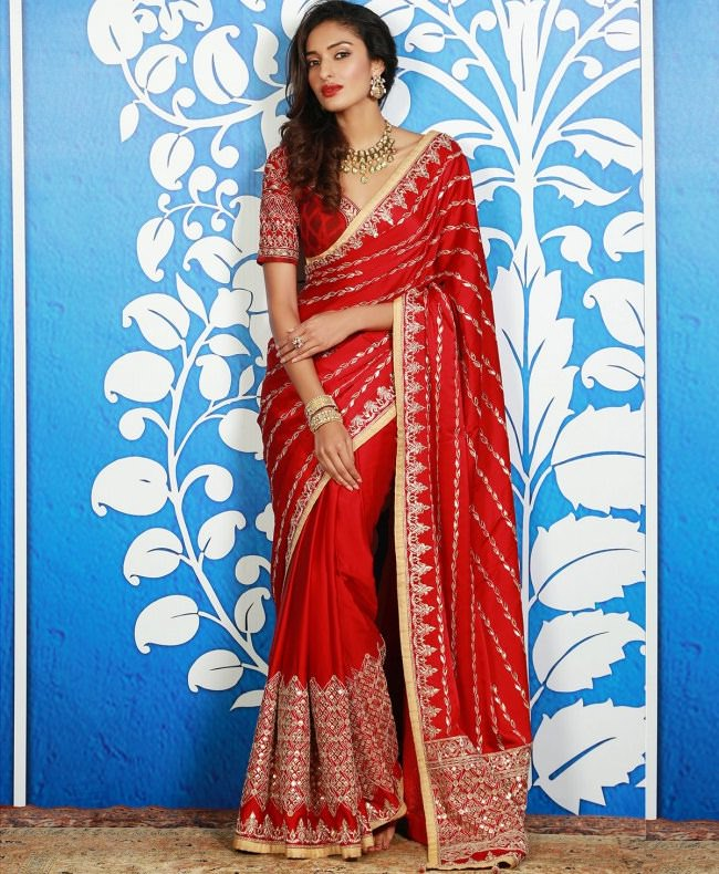 anita dongre red saree