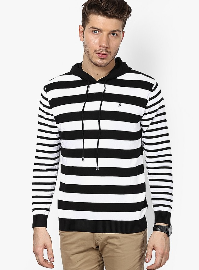 black n white striped hoodie sweater for men