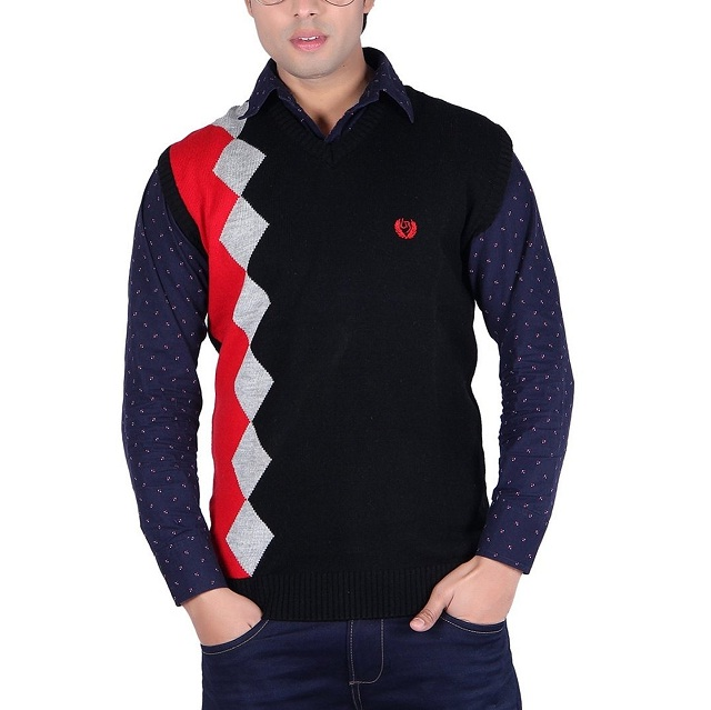 black patterned winter pullover for men