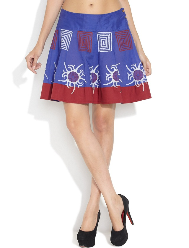 blue mini skirt for for Inverted Triangle Body Type