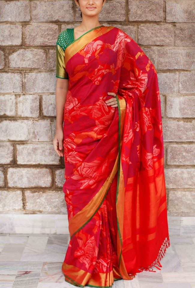 gaurang shah red printed saree