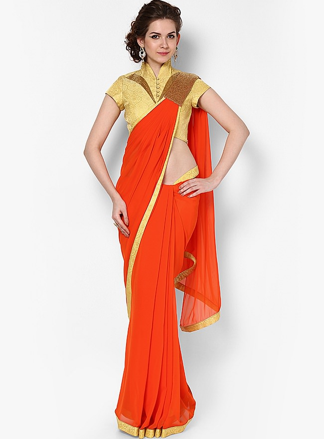 gaurav gupta orange saree