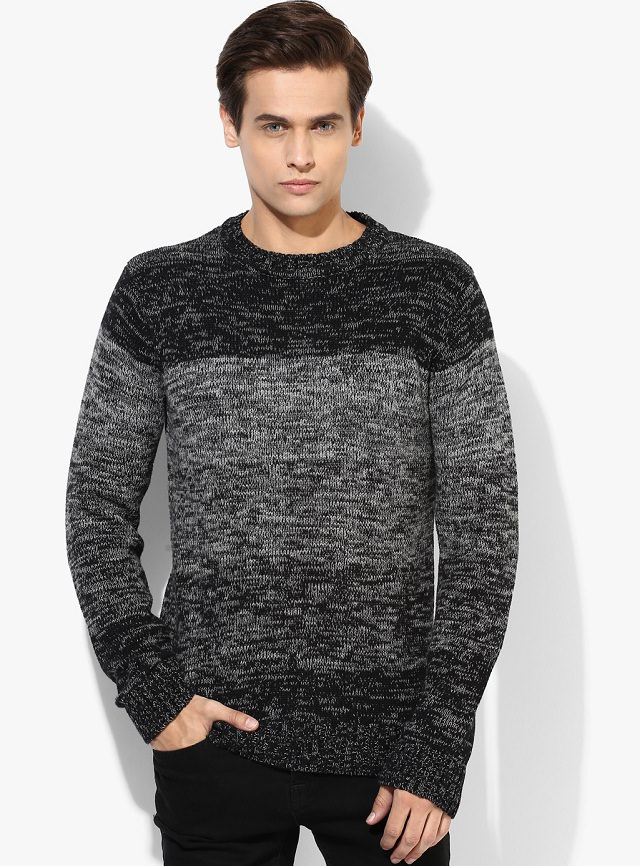 gray woolen sweater for men