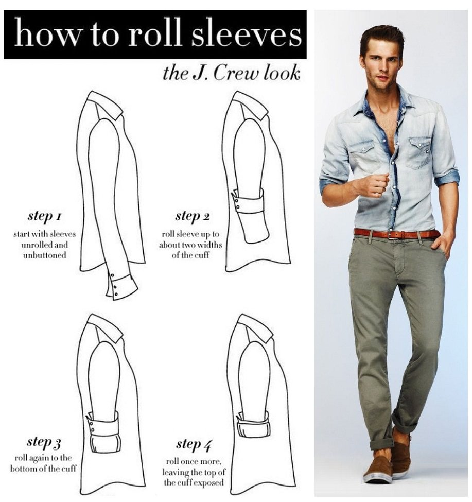 how to roll sleeves, infopraphic of how to roll sleeves