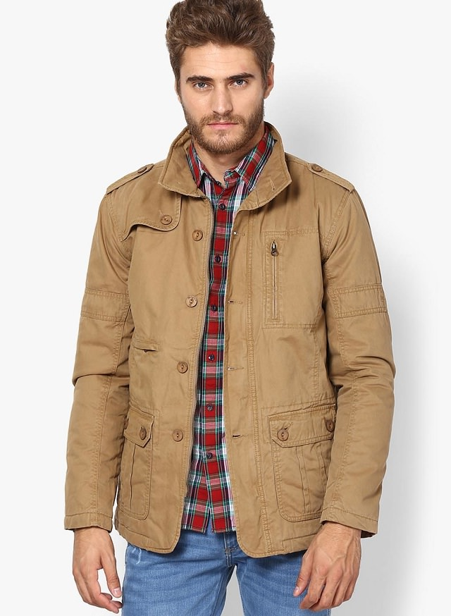 khaki quilted jacket for men