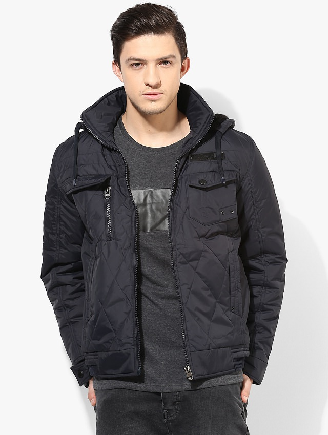 men's hooded black jacket pattern