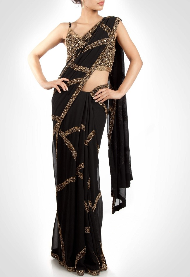 nakul sen black saree