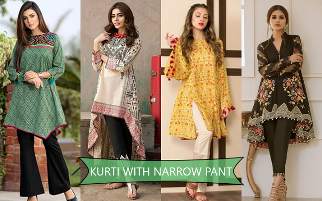 cigarette and straight pants with kurti set online