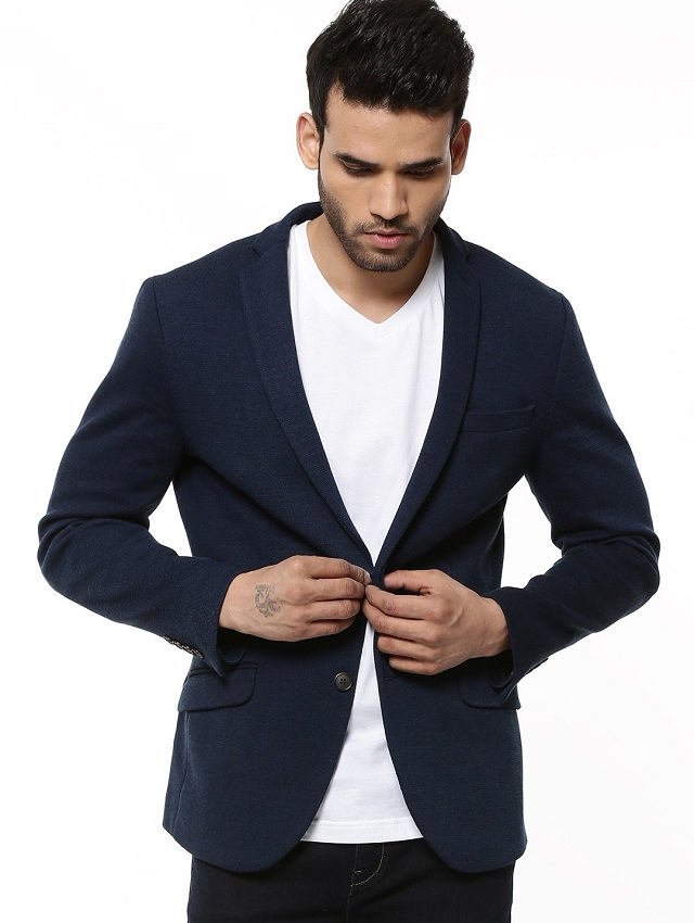 double breasted dark blue blazer for men