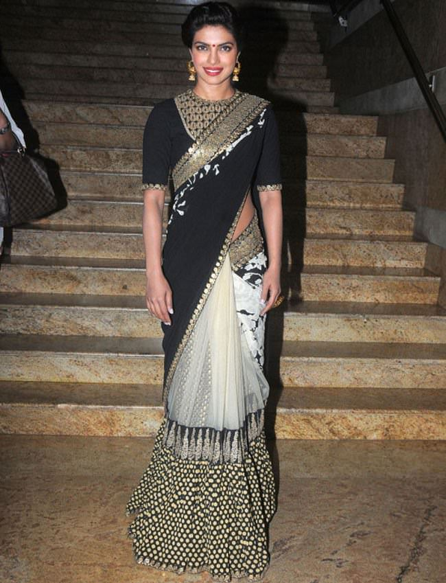 priyanka chopra in sabyasachi saree