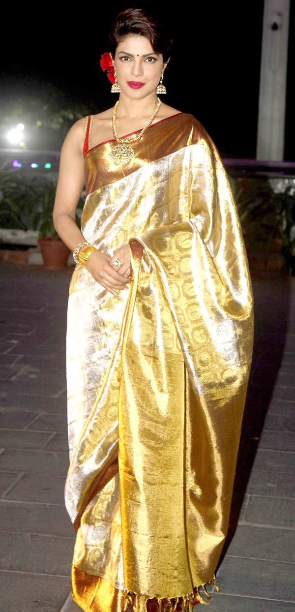 priyanka chopra in yellow saree