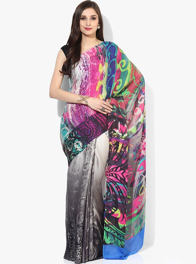 satya paul multi color printed saree