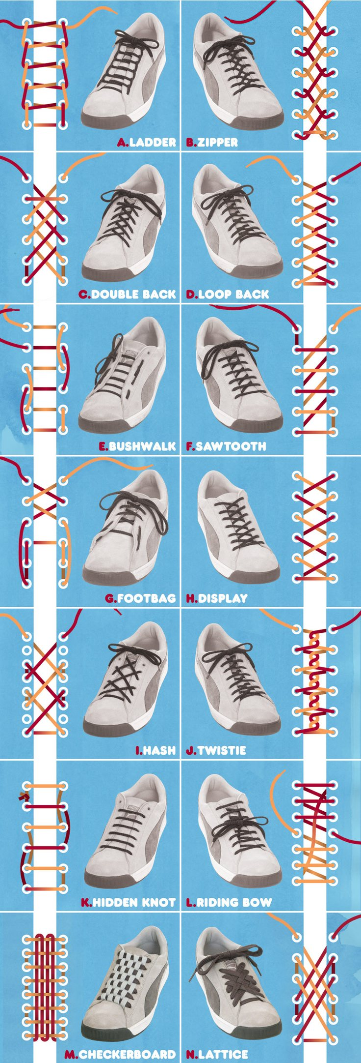 shoe-lacing-methods, different ways to tie shoes knot