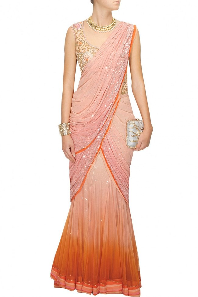 tarun tahiliani peach shaded saree
