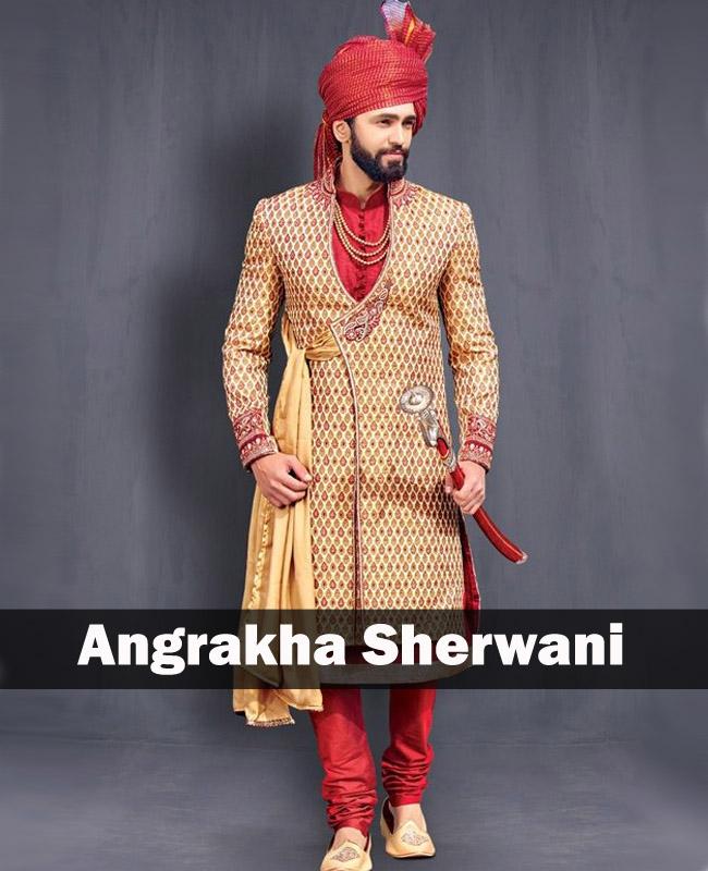beige maroon angrakha sherwani
