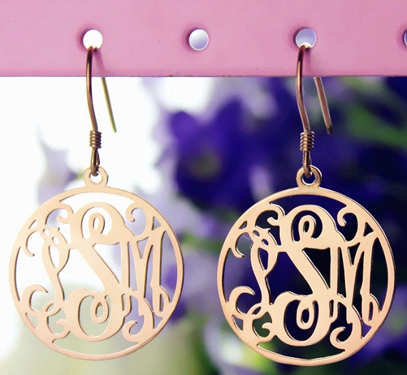 circle monogram earrings