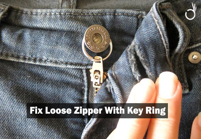 fix loose zipper with key ring, how to keep a zipper up that keeps falling down