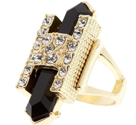 golden black egyptian diamante shard ring
