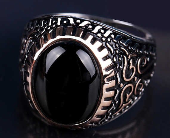 silver plated black agate ring