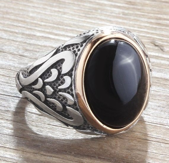 sterling silver black gemstone ring