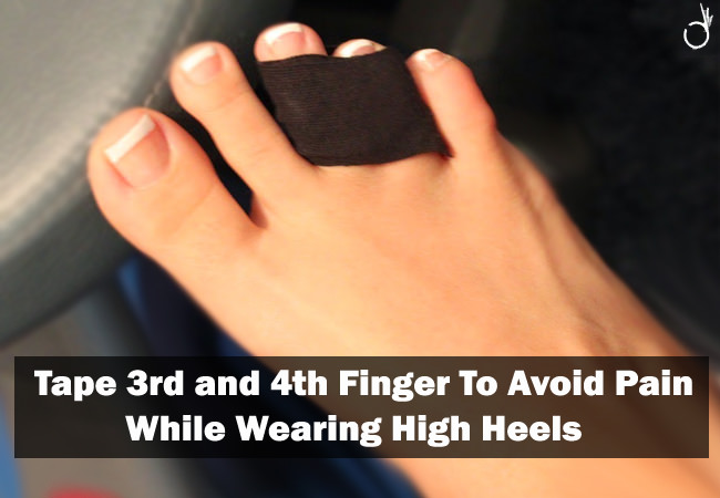 tap 3rd and 4th finger to prevent pain, how to wear high heels without pain