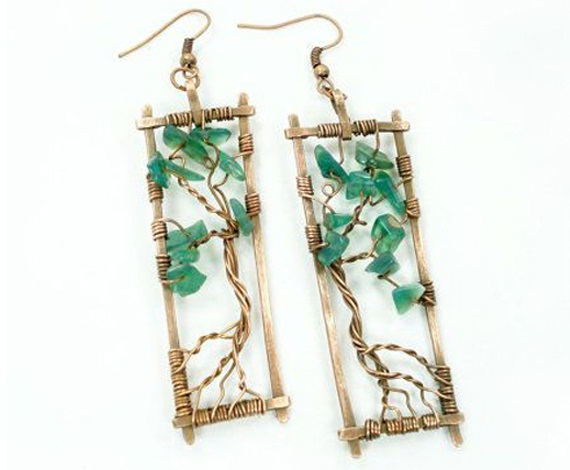 tree of life green earrings
