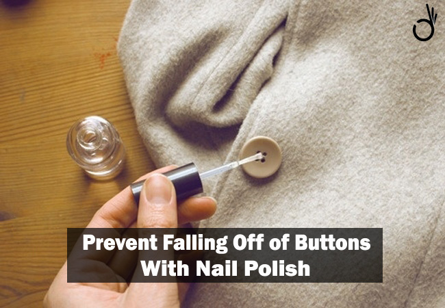 use nailpolish to keep button from falling off, quick & easy way to prevent falling off of buttons